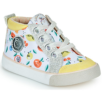 Shoes Girl High top trainers Shoo Pom BOUBA ZIP BASKET White / Yellow