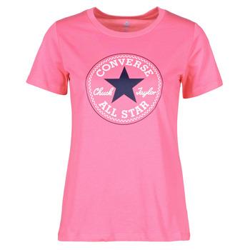 material Women short-sleeved t-shirts Converse CHUCK PATCH NOVA TEE Pink