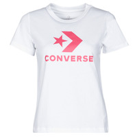 material Women short-sleeved t-shirts Converse STAR CHEVRON CENTER FRONT TEE White