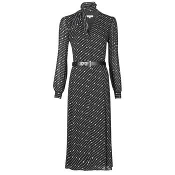 material Women Long Dresses MICHAEL Michael Kors CIRCLE LOGO SHRT DRS Black / White