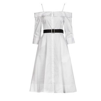 material Women Long Dresses Karl Lagerfeld COLDSHOULDERSHIRTDRESS White