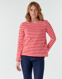 material Women Long sleeved shirts Petit Bateau  White / Red