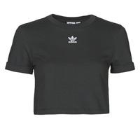 material Women short-sleeved t-shirts adidas Originals CROP TOP Black