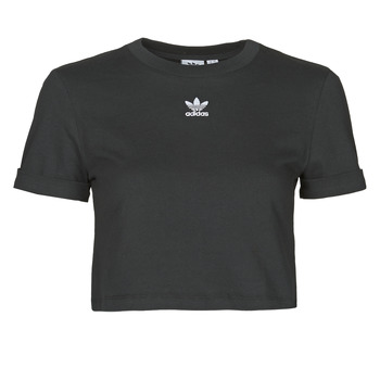 material Women short-sleeved t-shirts adidas Originals CROP TOP Black