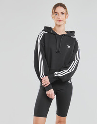 material Women sweaters adidas Originals SHORT HOODIE Black