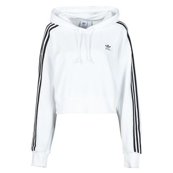 material Women sweaters adidas Originals SHORT HOODIE White