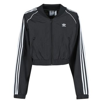 material Women Jackets adidas Originals SHORT TRACKTOP Black