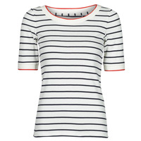 material Women short-sleeved t-shirts Esprit RAYURES COL ROUGE White