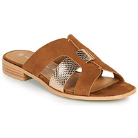 Shoes Women Mules The Divine Factory QL4335 Camel / Gold