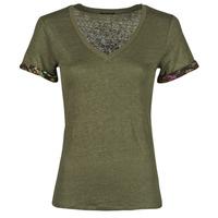 material Women short-sleeved t-shirts Ikks BS10255-56 Kaki