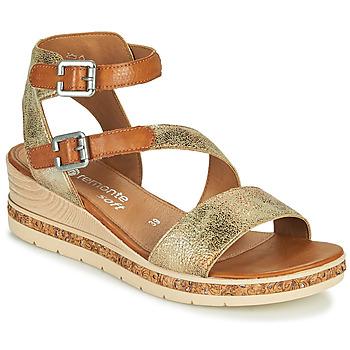 Shoes Women Sandals Remonte Dorndorf BALANCE Gold / Brown