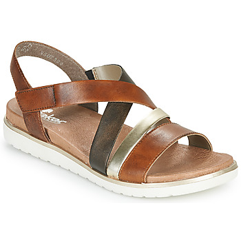 Shoes Women Sandals Rieker MARRO Brown / Silver
