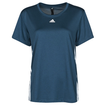 material Women short-sleeved t-shirts adidas Performance 3 STRIPE TEE Blue