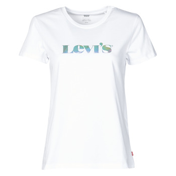 material Women short-sleeved t-shirts Levi's THE PERFECT TEE New / Logo / Iridescent / White