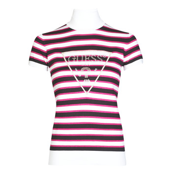 material Women short-sleeved t-shirts Guess GERALDE TURTLE NECK Black / White