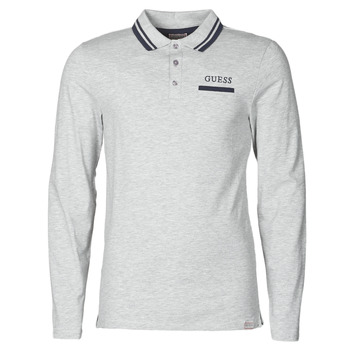 material Men long-sleeved polo shirts Guess LIVE IS POLO Grey