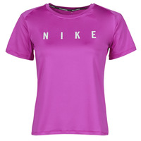 material Women short-sleeved t-shirts Nike RUN DVN MILER TOP SS Violet / Silver