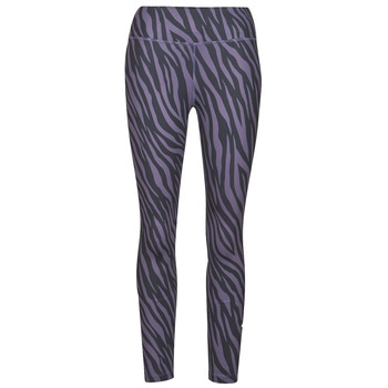 material Women leggings Nike NIKE ONE 7/8 AOP TGT ICNCLSH Violet / Black