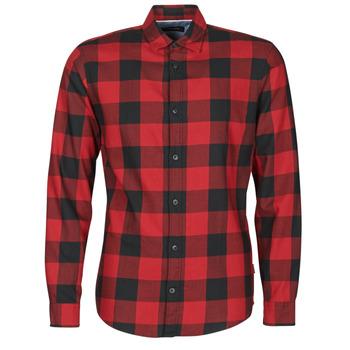 material Men long-sleeved shirts Jack & Jones JJEGINGHAM Red / Black