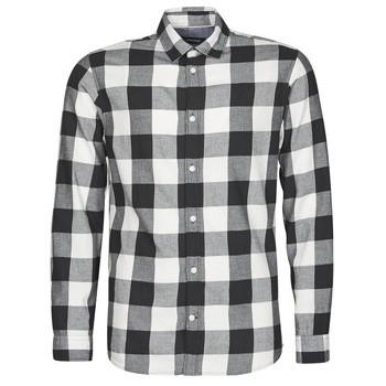 material Men long-sleeved shirts Jack & Jones JJEGINGHAM White / Black