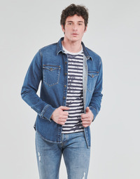 material Men long-sleeved shirts Yurban OPUCI Blue / Medium