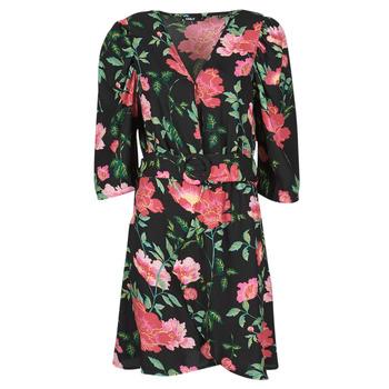 material Women Short Dresses Only ONLEVE 3/4 SLEEVE SHORT DRESS WVN Black / Pink
