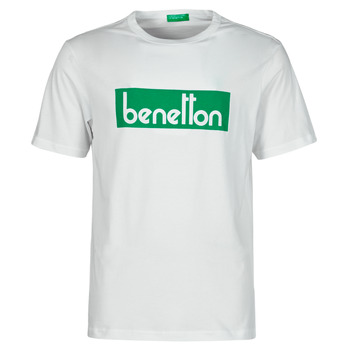 material Men short-sleeved t-shirts Benetton 3096J17H6-101 White / Green