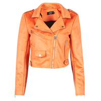 material Women Leather jackets / Imitation le Only ONLSHERRY CROP BONDED BIKER  Orange