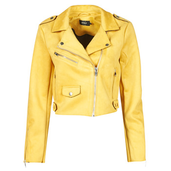 material Women Leather jackets / Imitation le Only ONLSHERRY CROP BONDED BIKER  Yellow