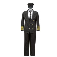 material Men Fancy Dress Fun Costumes COSTUME ADULTE PILOTE Multicolour