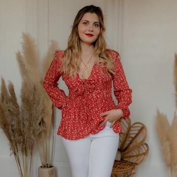 material Women Blouses Céleste ROSSIGNOL Red / Multicolour