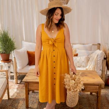 material Women Long Dresses Céleste CAMOMILLE Yellow