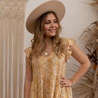 material Women Short Dresses Céleste DAHLIA Yellow / White