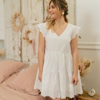 material Women Short Dresses Céleste DAHLIA White