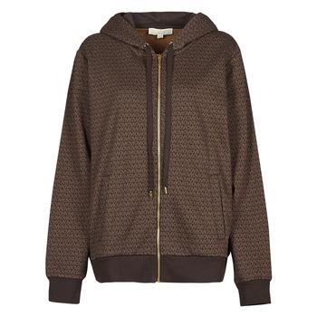 material Women sweaters MICHAEL Michael Kors UNISEX MK DOT ZIP HOODIE Brown