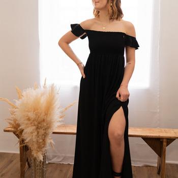 material Women Long Dresses Céleste PATCHOULI Black