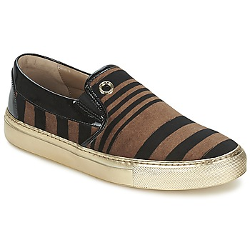 Shoes Women Slip ons Sonia Rykiel STRIPES VELVET Black / Brown