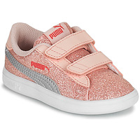 Shoes Girl Low top trainers Puma SMASH GLITZ INF Pink