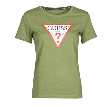 material Women short-sleeved t-shirts Guess SS CN ORIGINAL TEE Kaki
