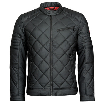 material Men Leather jackets / Imitation le Guess STRETCH PU QUILTED JKT Black