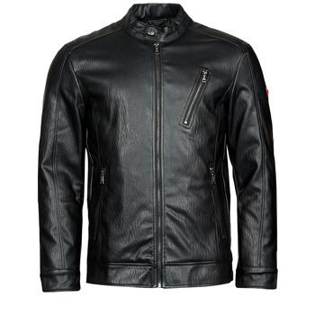 material Men Leather jackets / Imitation le Guess PU LEATHER BIKER Black