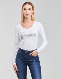 material Women Long sleeved shirts Guess LS CN RAISA TEE White