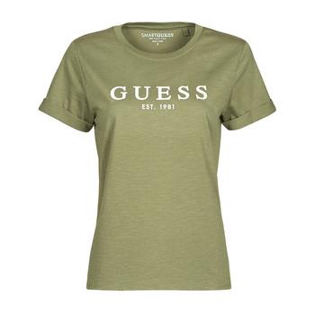 material Women short-sleeved t-shirts Guess ES SS GUESS 1981 ROLL CUFF TEE Kaki