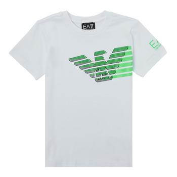 material Boy short-sleeved t-shirts Emporio Armani EA7 THAMIA White / Green
