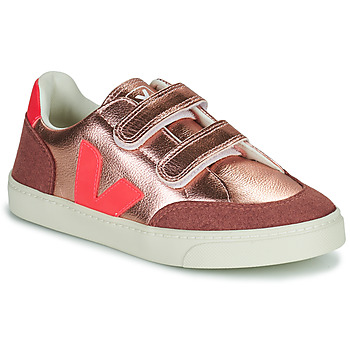 Shoes Girl Low top trainers Veja SMALL V-12 VELCRO Pink / Pink