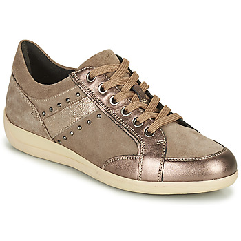 Shoes Women Low top trainers Geox MYRIA Brown / Gold