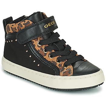 Shoes Girl High top trainers Geox KALISPERA Black / Leopard