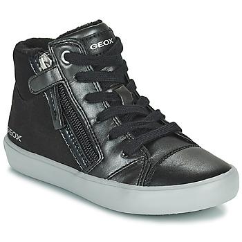 Shoes Girl High top trainers Geox GISLI Black / Silver
