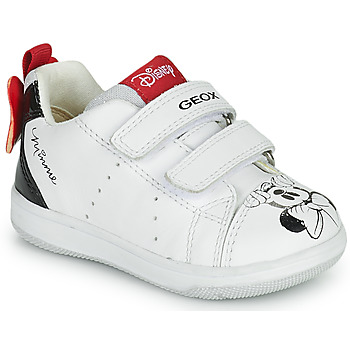 Shoes Girl Low top trainers Geox NEW FLICK White / Black / Red