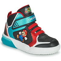 Shoes Boy High top trainers Geox GRAYJAY Black / Blue / Red